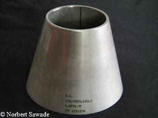 """Edelstahl Reduzierstück 76,1mm 3,0/"""" auf 60mm"""